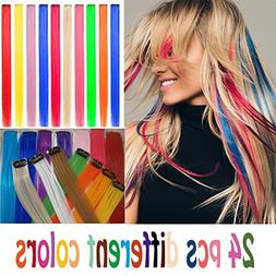 24 pcs Straight Colored Clip in Hair Extensions Fashion Hair
