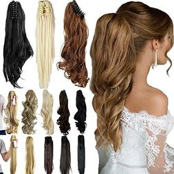 """18"""" 21"""" Straight Curly Synthetic Clip in Claw Ponytail Hair"""