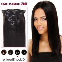 "15""/38cm High Quality Straight Hair Clip in Remy Human Hair"