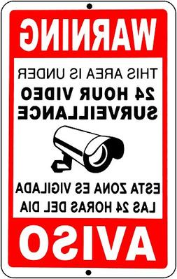 video surveillance signs 24 Hour security camera cctv signs