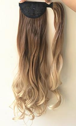 """20"""" Synthetic Wavy Curly Ombre Wrap Around Ponytail Clip in"""