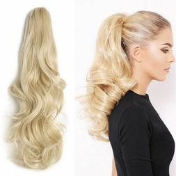 Thick Long Wavy Real Human Hair  Hairpiece Claw Clip in Pony