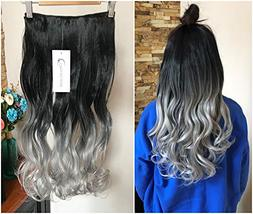 20 Inches Thick One Piece Half Head Wavy Curly Ombre Clip in