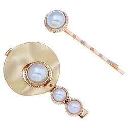 Two Fashion Pearl Hair Clips Personality Metal Texture Hairp
