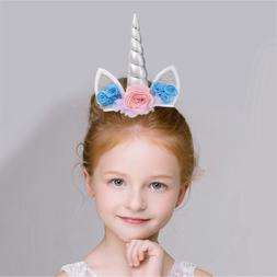 Unicorn Horn Headband Hair Clips Girl Favor Gift Kids Birthd