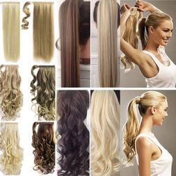 US 100% Real New Clip In Hair Extension Pony Tail Wrap Aroun