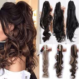 US 100% Real Thick New Clip In Hair Extension Pony Tail Claw