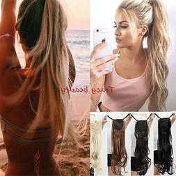 US 100% Soft New Clip In Natural Hair Extensions Pony Tail W