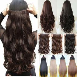 US One PieceClip-on Long Wavy Real as Human Hair Extension 3