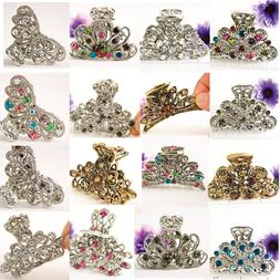 US SELLER-wholesale lot of mix hair clips with crystal metal