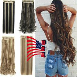 US Straight Wavy Curly 3/4 Full Head Clip in Hair Extension