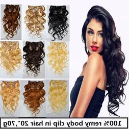 USA STOCK!20inch remy human hair Wavy clip In Extensions 70g