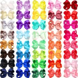 40 Pieces 4 Inch Big Hair Bows Alligator Hair Clips for Baby