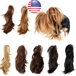 Straight Blonde Brunette Red Claw Clips Hair Pieces Short 9 in Wavy