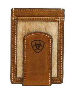 Ariat Western Mens Money Clip Card Case Leather Calf Hair In