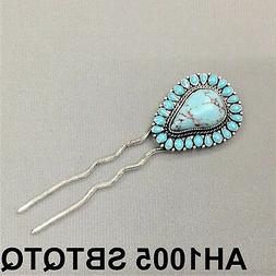 Western Style Antique Silver Finish Natural Turquoise Stone