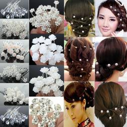 Wholesale 20/40Pc Wedding Bridal Pearl Flower Crystal Hair P
