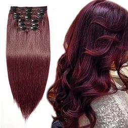 Wine Red Clip in 100% Remy Human Hair Extensions Double Weft