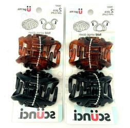 Scunci Wingless Jaw Hair Clips Brown & Black Twin Pack 38267