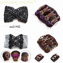 Women Butterfly Wood Beads Double Side Hair Comb Clip Stretc