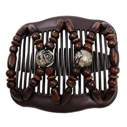 Women Magic Hair Comb Clip Double Slide Butterfly Wood Beads