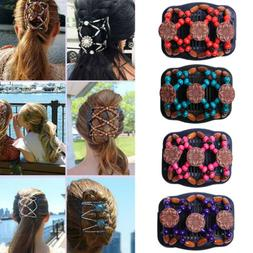 Women Magic Hair Comb Ladies Clip Double Slide Butterfly Bea