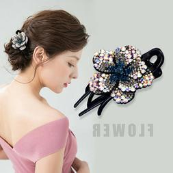 Women's Crystal Hair Clips Pins Slide Grips Flower Ponytail