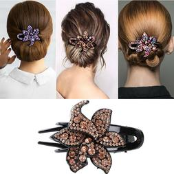Women's Crystal Hair Clips Slide Flower Hairpin Pins Comb Ha
