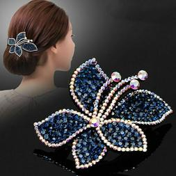 Women's Crystal Hair Clips Slide Hairpin Pins Flower Comb Bu