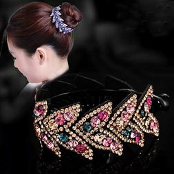Women's Crystal Rhinestone Flower Hair Clips Claw Clamp Bun