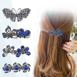 Women's Crystal Rhinestone Flower Hair Pin Barrette Hairpin