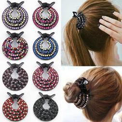 Women's Crystal Rhinestone Hair Clips Claw Clamp Bun Net Hai