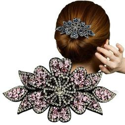Women's Flower Hair Clips Pins Slide Ponytail Crystal Hair C