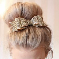 Women's Girl Bling Sequin Big Bowknot Barrette Hairpin Hair