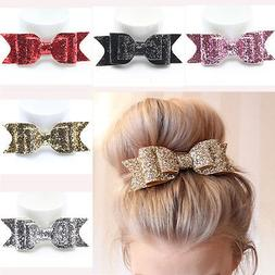 Women's Girl Shiny Sequin Big Bowknot Barrette Hairpin Hair