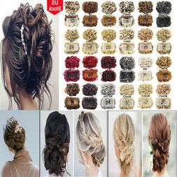 Women Wrap Clip Brown Synthetic Curly Hair Flexible Hair For