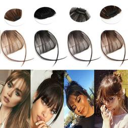Womens Thin Neat Air Bangs Human Hair Extensions Clip In Fri
