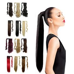 Wrap Around Synthetic Ponytail Off Black Clip in Hair Extens